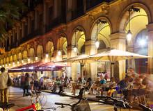 Outdoor Restaurants At Placa Reial In  Night. Barcelona