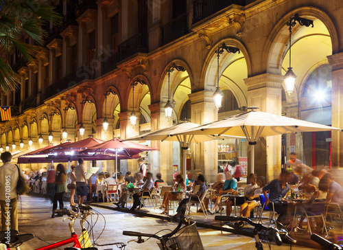 Foto op Canvas Barcelona Outdoor restaurants at Placa Reial in night. Barcelona