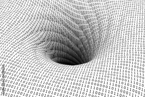 Fotografía  binary code is pulled into a black hole