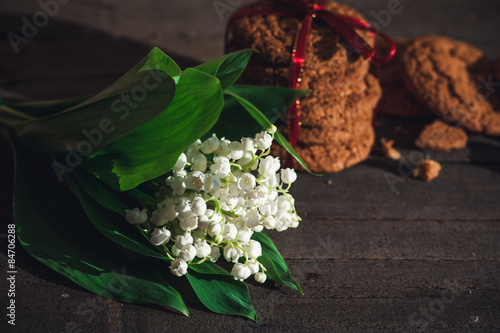 Wall Murals Oatmeal cookies and blooming flower