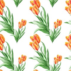 FototapetaClassical Wallpaper Pattern with Red Tulips