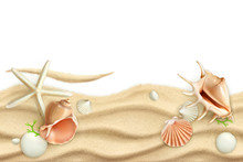 Seashells On Sand, Vector Back...