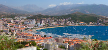 Aerial View Of The Ajaccio Town. Corsica, France.