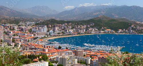 Photo Aerial view of the Ajaccio town. Corsica, France.