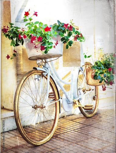 Foto op Canvas Fiets floral bike - vintage card