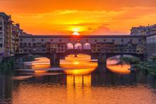 Arno And Ponte Vecchio At Suns...