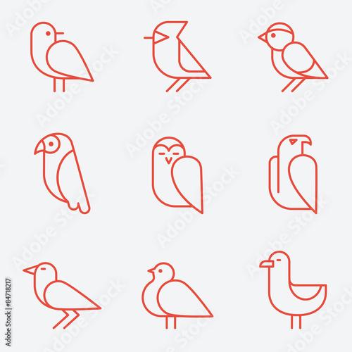 Valokuva  Bird icons, thin line style, flat design