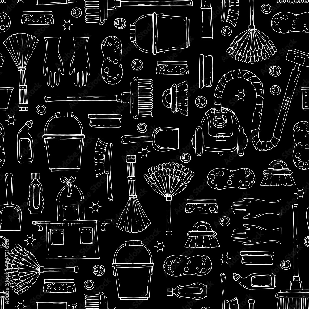Vector seamless pattern with hand drawn symbols of cleaning services company on black background. Background for use in design, web site, packing, textile, fabric