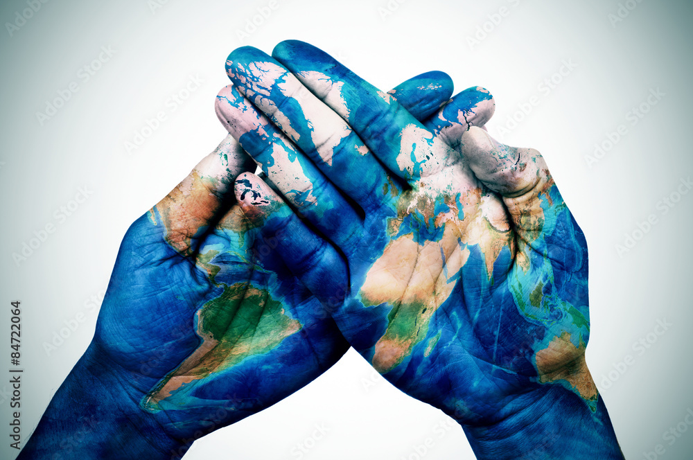 Fototapety, obrazy: man hands patterned with a world map (furnished by NASA)