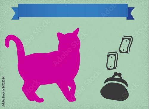 Fotografie, Obraz  Kot z kasą