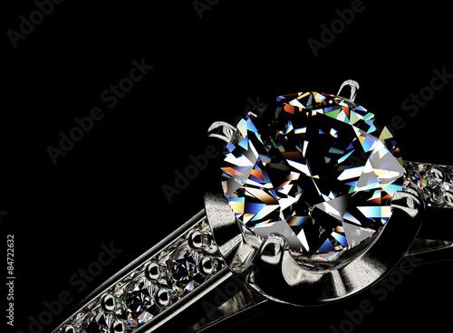 Tuinposter Ring with Diamond. Jewelry background