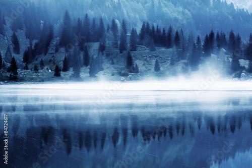 Printed kitchen splashbacks Reflection Landscape of a glacial lake.