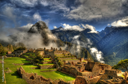 Clouds in Machu Picchu - the lost city of the Inca in HDR