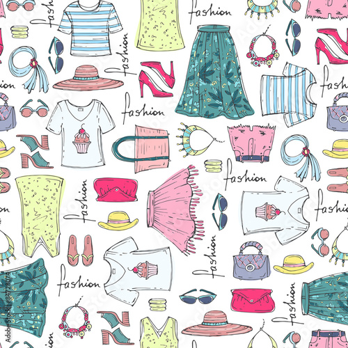 Vector Seamless Pattern Of Hand Drawn Fashion Collection With Summer Women S Clothing Background For Use In Design Web Site Packing Textile Fabric Buy This Stock Vector And Explore Similar Vectors At