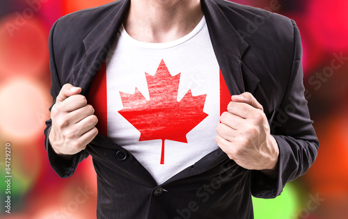 Spoed Foto op Canvas Canada Businessman stretching suit with Canada Flag on bokeh
