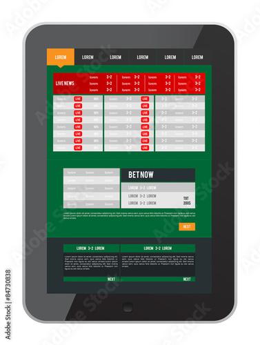 Fotografía  Sports betting app on tablet screen vector