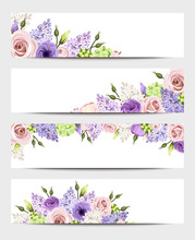 Web Banners With Pink, Purple ...