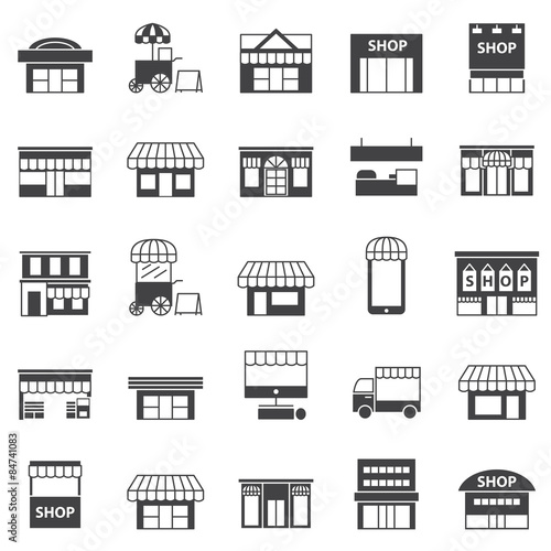 Photo store and building  icon set