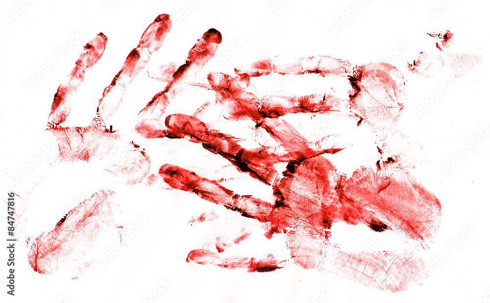 Fototapeta Bloody handprints on white paper