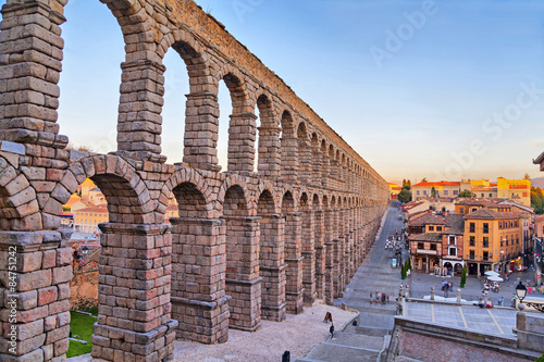 Ancient Roman aqueduct on Plaza del Azoguejo square in Segovia, Spain