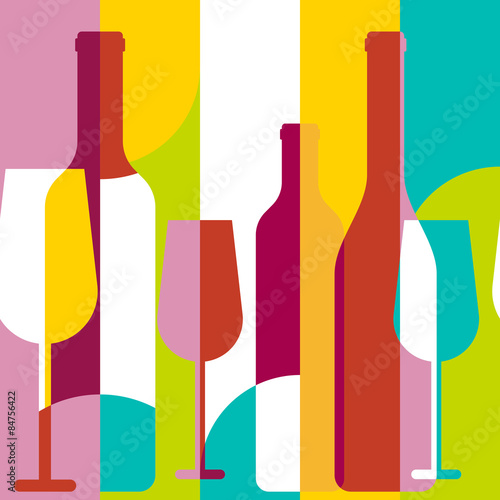 Vector seamless background, wine bottle and glass silhouette. Ab Fototapete
