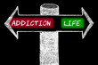 Opposite arrows with Addiction versus Life