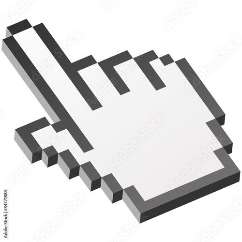 Foto op Aluminium Pixel 3D icon hand click