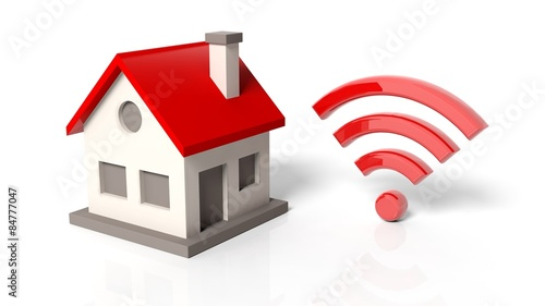 House Model With Wifi Symbol Isolated On White Background
