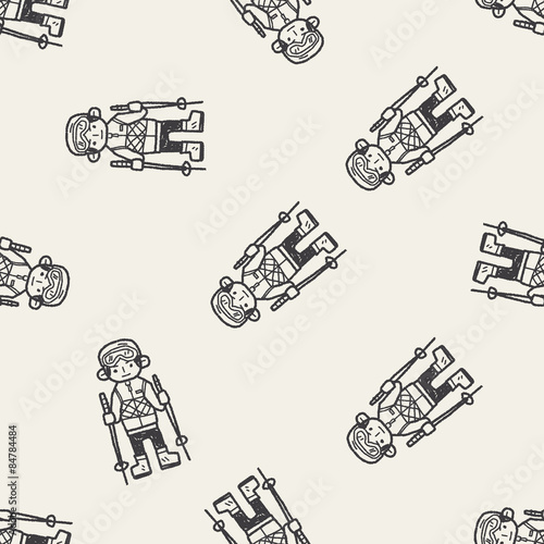 Cotton fabric skiing doodle seamless pattern background