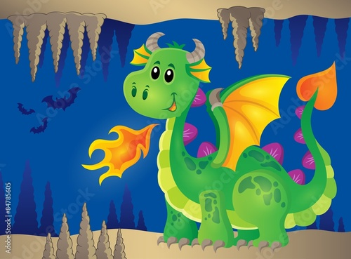 Canvas Prints Dinosaurs Image with happy dragon theme 2