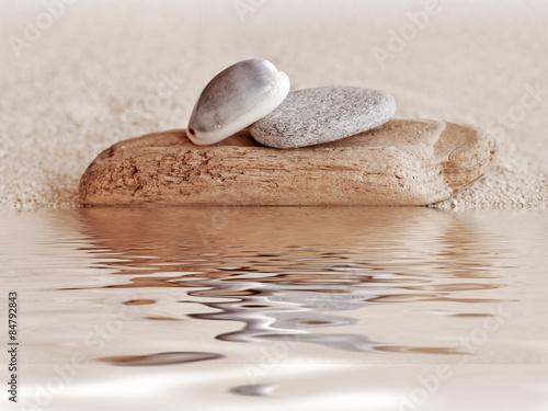 Foto op Plexiglas Stenen in het Zand Zen stone, wood, shell and sand still life, water reflections