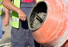 Concrete Mixer On Construction Site