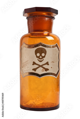 Fotografía  Botella pasada de moda de la droga con la etiqueta, aislado.