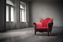 Red Old-fashioned Chair