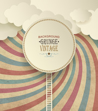 Vintage Background With Clouds