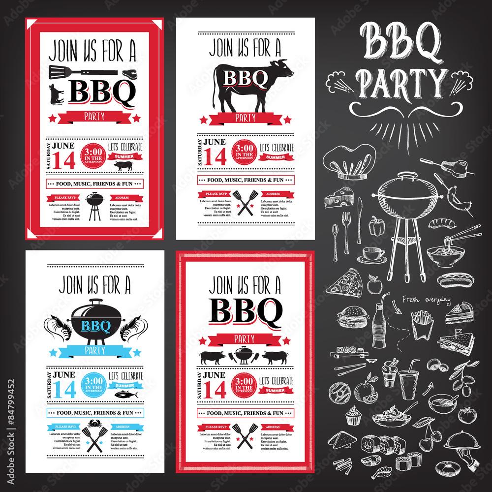 photo art print barbecue party invitation bbq template menu