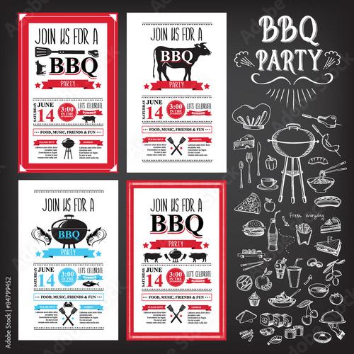 Fototapeta Barbecue party invitation. BBQ template menu design. Food flyer. obraz