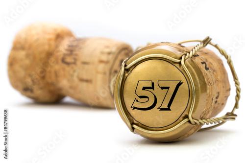 Fotografie, Obraz  Champagnerkorken Jubiläum 57 Jahre