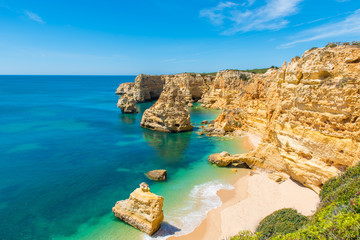 Fototapeta Praia da Marinha - Beautiful Beach Marinha in Algarve, Portugal