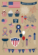 Set Of Design Elements For American Independence Day, Forth Of July