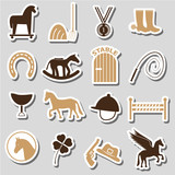 brown simple horse theme stickers icons set eps10