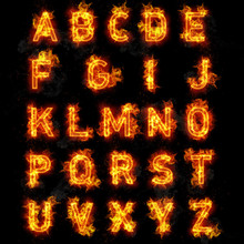 Fire Font Text All Letters Of Alphabet On Black Background