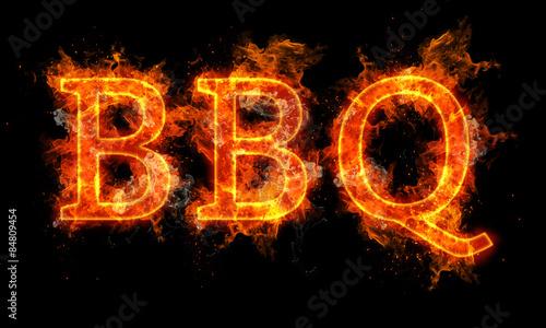 Fototapeta BBQ word written text in flames obraz