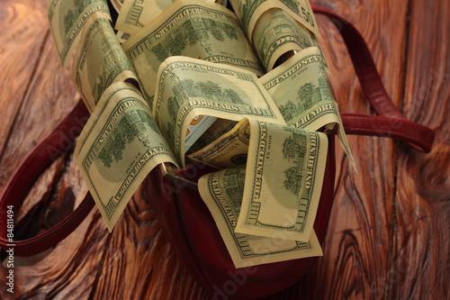 Papiers peints Affiche vintage Dollar climbs out of the bag