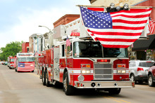 Fire Trucks With American Flag...