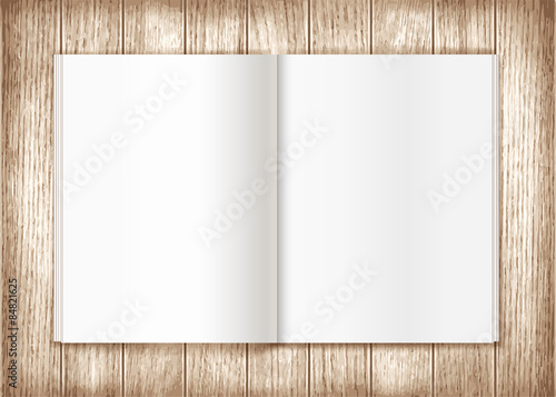 Blank magazine on wooden background. Template - Buy this stock ...