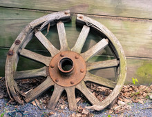 Antique Wagon Wheel With Broken Spokes