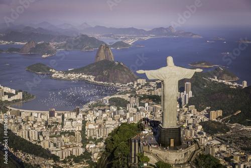 Aluminium Prints Brazil Rio de Janeiro, Brazil : Aerial view of Christ and Botafogo Bay