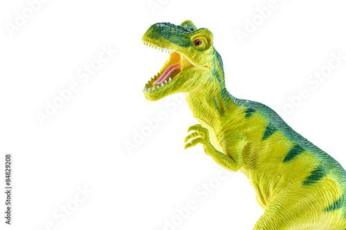 Photo  Tyrannosaurus rex plastic toy isolated on white background.