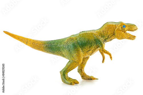 Tyrannosaurus dinosaur plastic figure toy model on white backgro